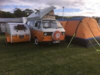 VW T25 1981 Camper. Tear Drop Trailer. Blow Up Awning.