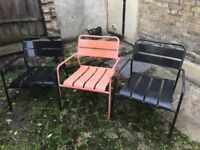 Metal Garden Chairs x3 two in dark grey/black one in peach. Heavy, very sturdy and comfortable