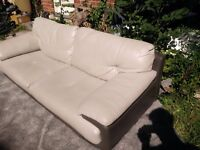 Lightly used Dfs grey leather sofa couch good condition with minor scratches bought for £800 now 200