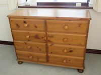 ducal pine 8 drawer chest with bun feet