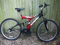 Olympus adult mountain bike front /rear suspension 18 speed gears good condition can deliver free