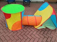 Pop up play tent and tunnel - set of three.