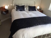 A Pair of Dark Blue Velvet Effect Cushions and a matching throw/blanket.