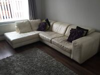 DFS Cream Leather corner Sofa and Chair