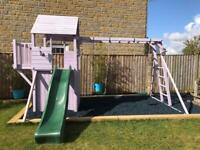 Child's Wooden Climbing Frame with Slide & Swings