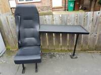 van seat and table