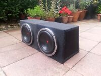 2 x 12 inch 1000watt 2 ohm Kenwood subwoofers. Not jbl jl audio pioneer sony xplod mutant fli