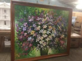 Huge oil painting hardwood frame