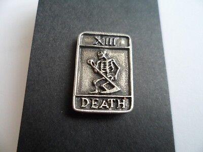 Tarot card Death,  English Pewter  Pin / Brooch  pagan, wicca, goth