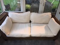 Conservatory 2 seater hessian sofa with matching glass cube table