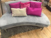 Suede effect two piece sofa set with cushions