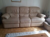 3 and 1 seater leather sofa with recliner