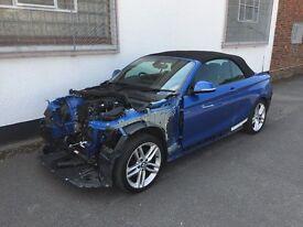 2016 BMW 220D M SPORT AUTO CONVERTIBLE ESTORIL BLUE UNRECORDED DAMAGED SALVAGE