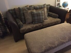 **Beautiful 3 seater sofa with footstool and cushions- very good condition- MUST GO!****