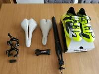 Saddle, shoes, calipers