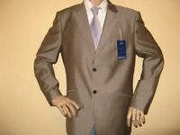 NEW WITH LABELS MENS NEXT LUXURY TAUPE BROWN SINGLE BREASTED FASHION SUIT 46R CHEST 40R WAIST 32 LEG