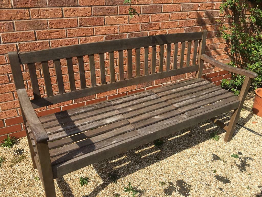 Garden bench with shelf