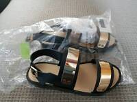 Asos Black and Gold Sandals Size 3