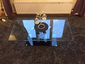 Coffee Table- marble base with glass top