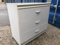 White melamine chest 3 drawers FREE DELIVERY PLYMOUTH AREA