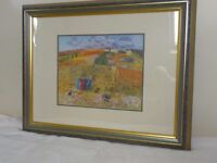 """Colourful Harvest print. 28""""x 22"""" with gold and grey frame"""