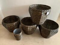 Ikea hyacinth grey woven DRUVFLÄDER Plant pots