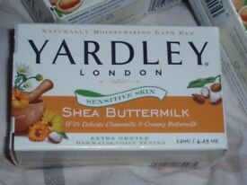 Yardley soaps 1 x shea butter, 2 x oatmeal and almond (other items)