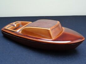 Quirky & Unusual - Ceramic Boat Ashtray/Match Holder In Brown Treacle Glaze