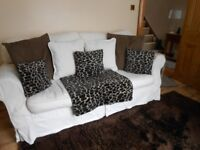 SOFA 2 CHAIRS &POUFFE COST NEW £2000 BARGAIN £125 ONO