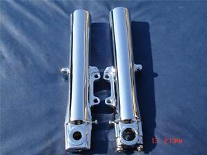 HARLEY CHROME LOWER FORK SLIDERS LEGS 4 Road Glide FLTR Exchange Only,Fit 00-13