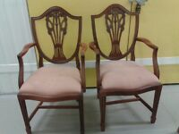 2 dining chairs,Yew wood,carved back,cushion not clean,stable,2 carvers,no table
