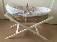 John Lewis White Waffle Moses Basket with Stand and Rocking Stand