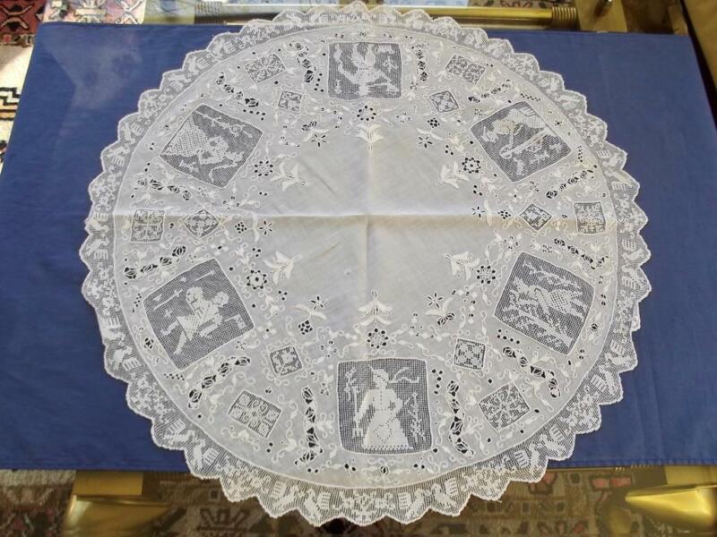 Antique Italian Linen Centerpiece FAB Figural Filet Lace Punto Antico Embroidery