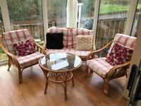 Cane conservatory 2 seater, 2 one seater chairs and table