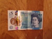 AK 19 Five Pound Polymer Note Excellent Condition ( Low Serial Number)