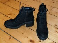 Black Cleated Sole Boots