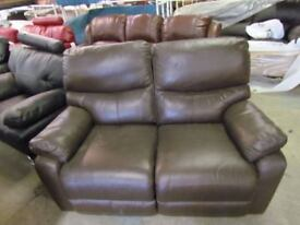 2 Seater Real Leather Brown Recliner