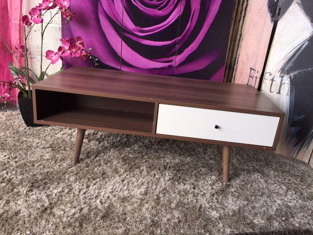 New and ready assembled ideal home monty 2 drawer retro coffee new and ready assembled ideal home monty 2 drawer retro coffee table in walnut effect geotapseo Images