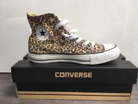 Converse All Star leopard print high top trainers