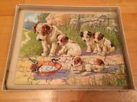 Wooden dog and puppy jigsaw