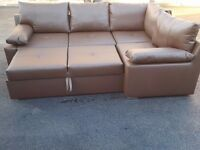 Fabulous brand new brown leather corner sofa bed with storage. Can deliver
