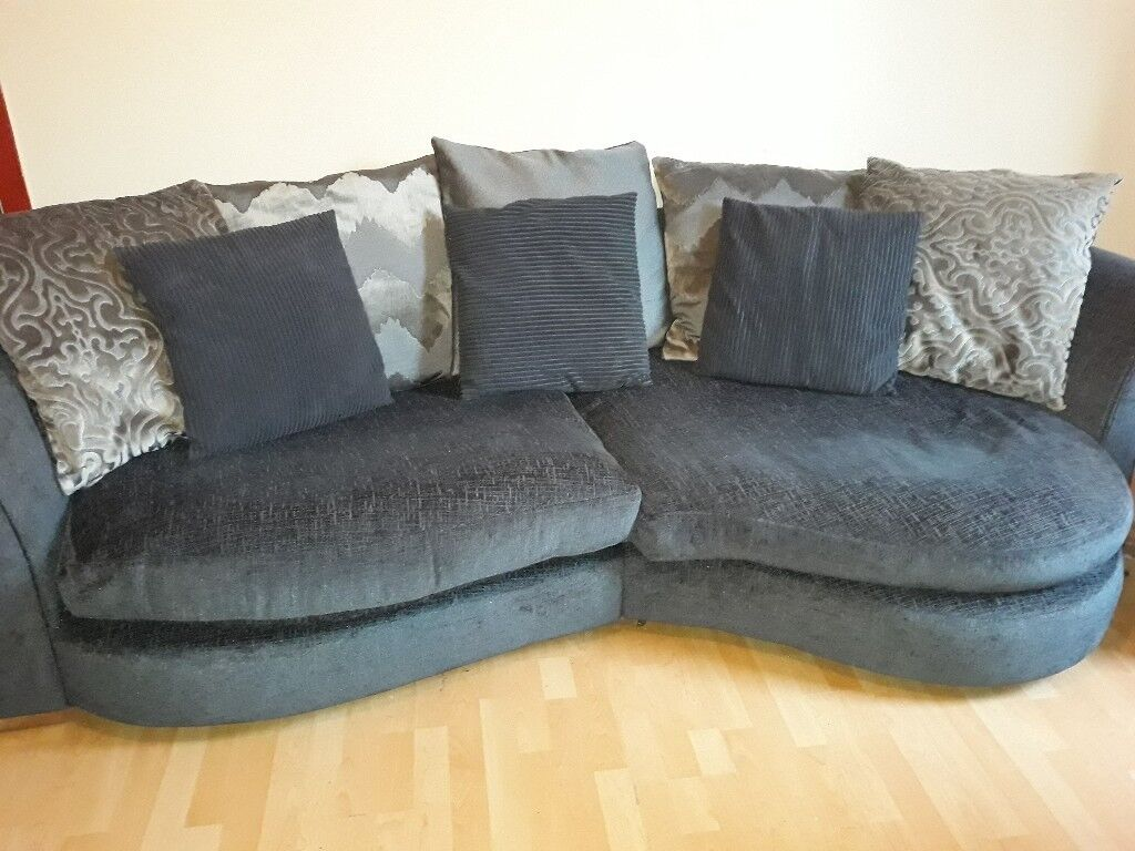 Large Half Moon Shaped Sofa And Two Seater Cuddle Chair