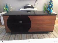 Black Gloss/Black Glass/Wood Modern Tv Unit