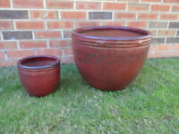 Pair Of Quality Red Glazed Plant Pots Containers Planters
