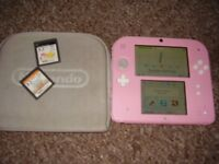 NINTENDO 2DS WITH GAMES PINK MINT