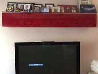 Red Ikea Besta Burs TV Media Unit and Wall Cabinet for CDs DVDs
