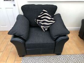 DFS 3 seater sofa, chair and storage foot stall