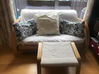 Solid Wood Futon & Foot Stool For Sale