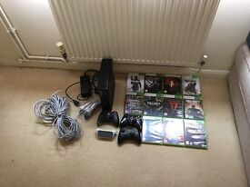 Xbox 360 + 11 games + 2 normal controller & 1 chipped bullet controoler