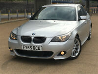 2005 BMW 5 SERIES 525d M Sport 4dr MET SILVER & FULL BLACK LEATHER INTERIOR 129K&&FSH 4850 ONO